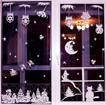 Новогодние картинки на окна – создаем праздник