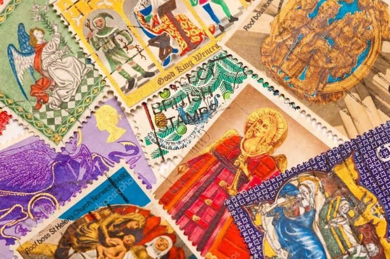 Рождественские марки и наклейки